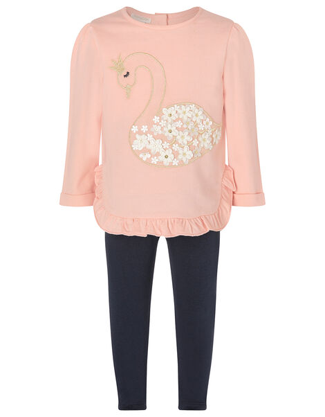 Baby Swan Sweatshirt and Leggings Set Pink, Pink (PINK), large