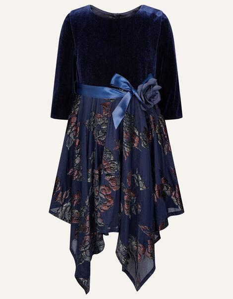 Velvet Devore Dress  Blue, Blue (NAVY), large