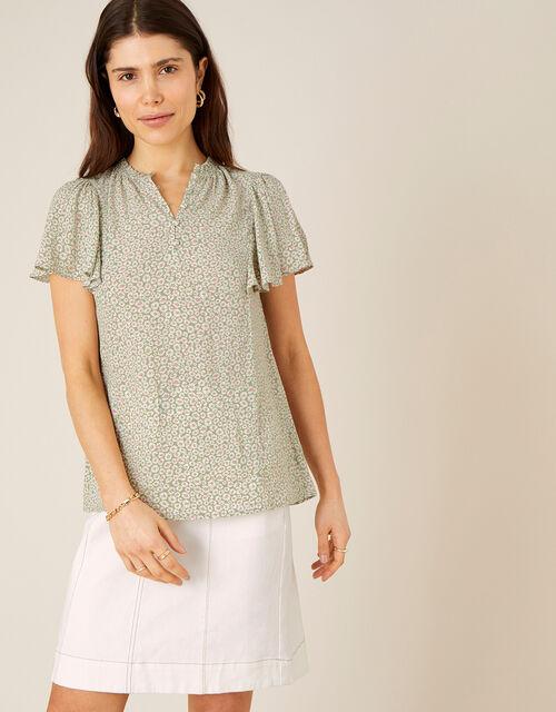 Daisy Print Short Sleeve Blouse, Green (GREEN), large