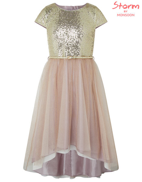 Kylie Gold Sparkle Tiered Prom Dress Gold, Gold (GOLD), large