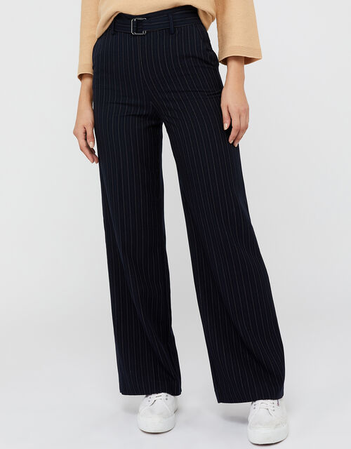 Paige Pinstripe Trousers, Navy, large