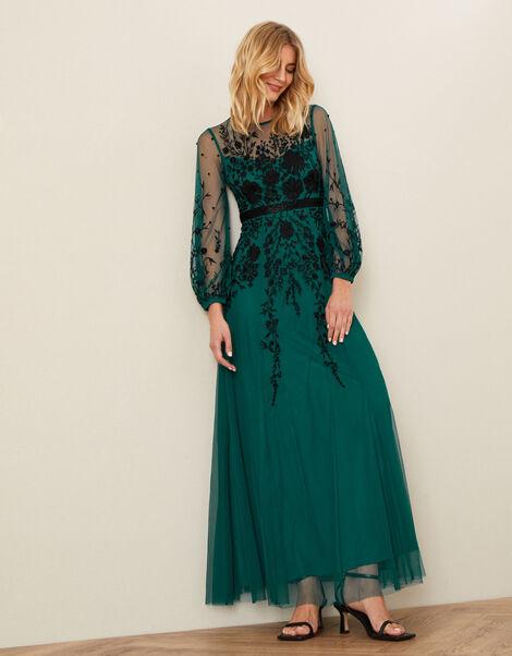 Jane Floral Embellished Maxi Dress Teal, Teal (TEAL), large