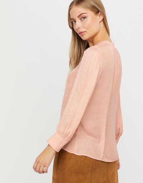 Alyssa Zebra Jacquard Blouse, Pink, large