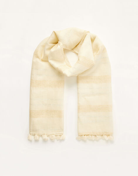 Metallic Stripe Scarf in Linen Blend, , large