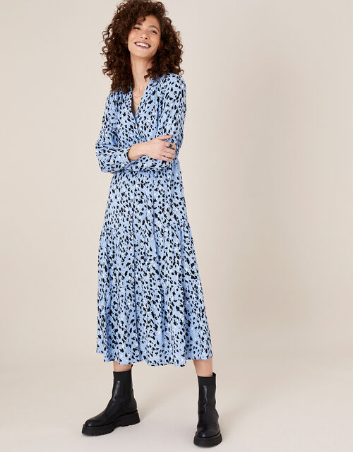 Animal Print Midi Shirt Dress, Blue (BLUE), large