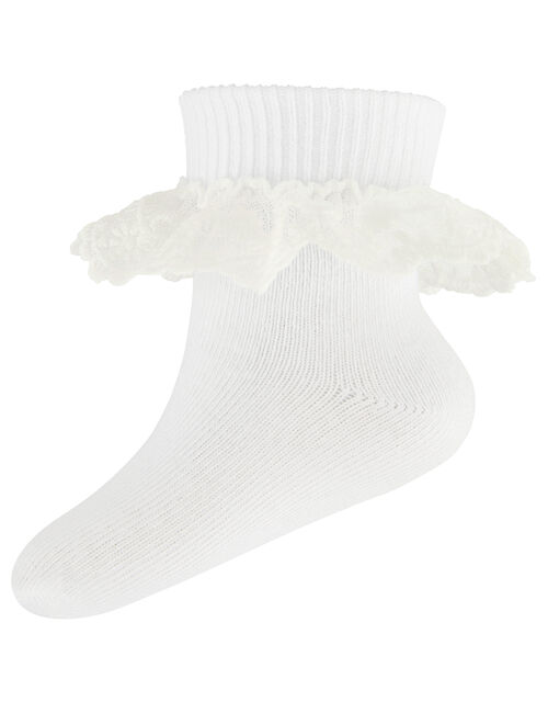 Baby Mini Flower Lace Ankle Socks, White (WHITE), large