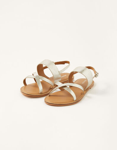 Metallic Leather Cross-Over Sandals Silver, Silver (SILVER), large