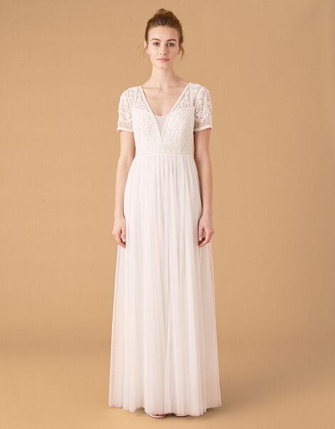 Beth Beaded Floral Plunge Bridal Dress Ivory, Ivory (IVORY), large