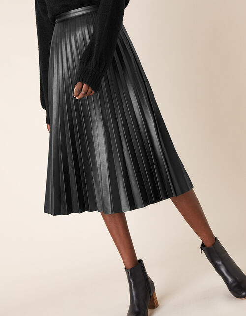 Pleated Leather-Look Midi Skirt, Black (BLACK), large