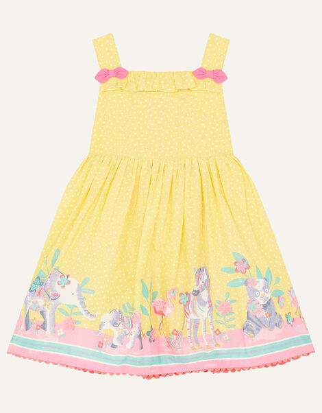 Baby Animal Border Dress Yellow, Yellow (YELLOW), large
