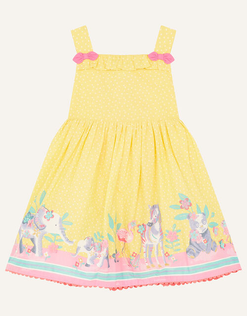 Baby Animal Border Dress, Yellow (YELLOW), large
