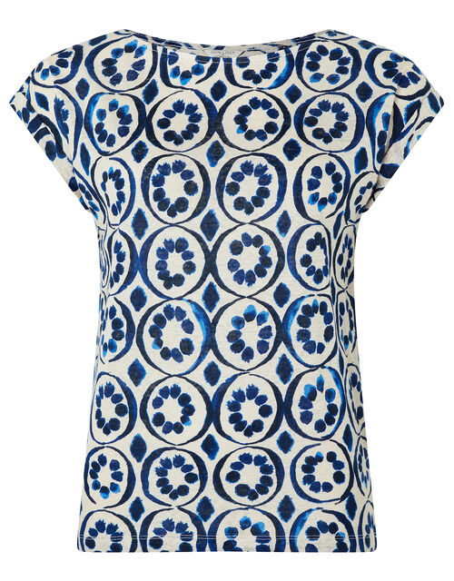 Lourde Printed T-Shirt in Pure Linen, Blue (BLUE), large