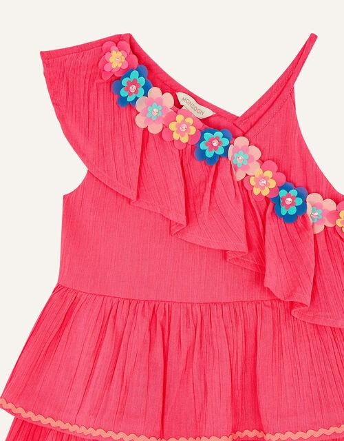 Fiesta Flower Frill Dress, Pink (BRIGHT PINK), large