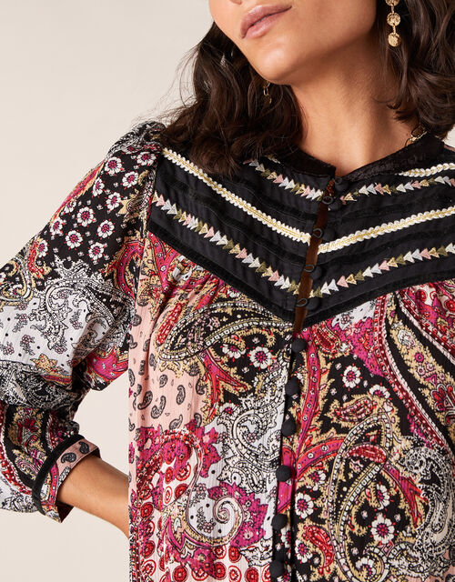 Paisley Print Embroidered Blouse, Pink (PINK), large