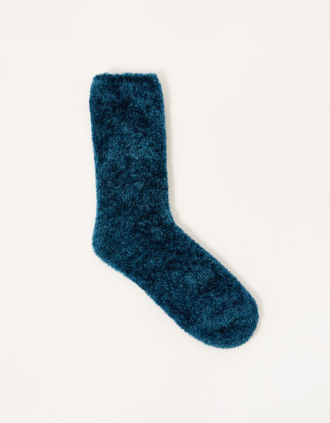 Chenille Cosy Socks Teal, Teal (TEAL), large