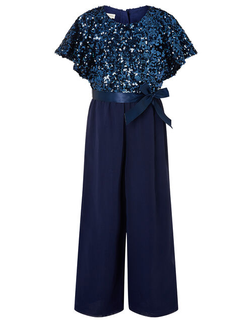 Sequin Flutter Sleeve Jumpsuit , Blue (NAVY), large