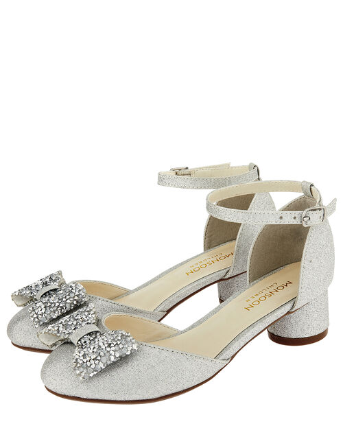 Piper Dazzle Bow Jazz Heel Shoes, Silver (SILVER), large