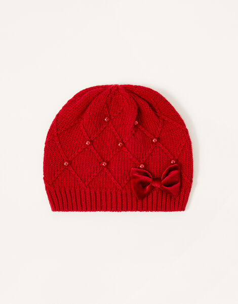 Ruby Pearl and Bow Beanie Red, Red (RED), large