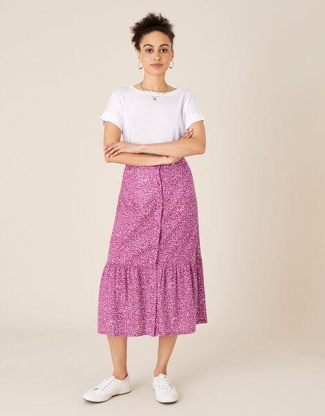 Maddy Printed Jersey Midi Skirt Pink, Pink (PINK), large