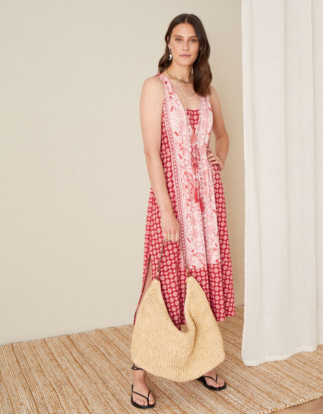 Jade Tile Print Dress  Red, Red (RED), large