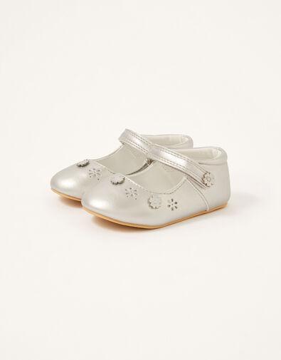 3D Flower Shimmer Walker Shoes Silver, Silver (SILVER), large