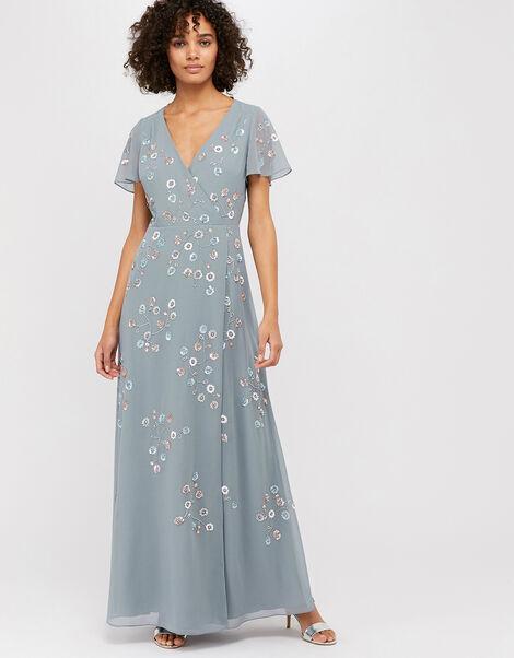 Ally Embellished Wrap Maxi Dress Grey, Grey (GREY), large