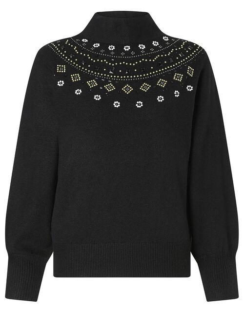 Embellished Yoke Knit Jumper, Black (BLACK), large