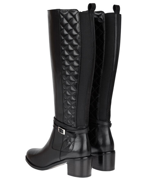 Leather Riding Boots, Black (BLACK), large