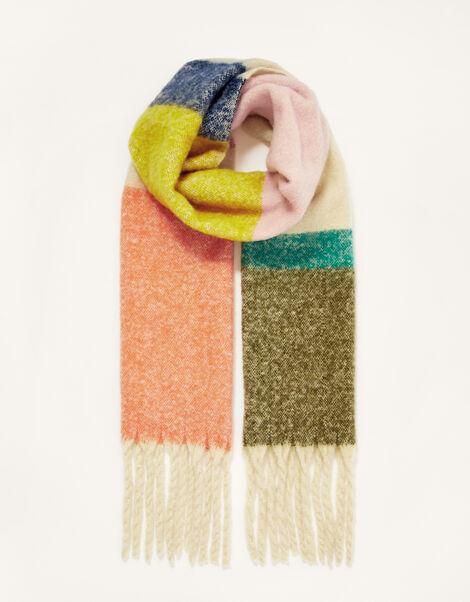 Colourblock Tassel Blanket Scarf, , large