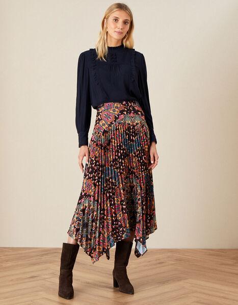 Printed Hanky Skirt Black, Black (BLACK), large
