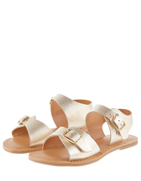 Buckle Leather Sandals Gold, Gold (GOLD), large