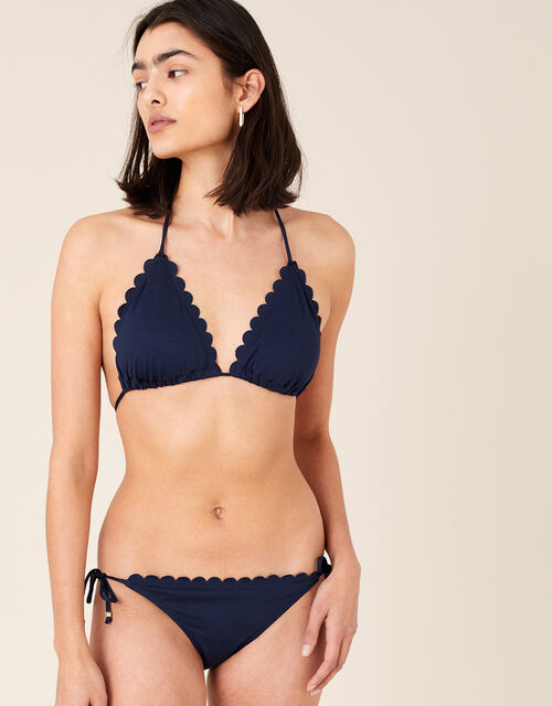 Scallop Bikini Top with Recycled Polyester, Blue (NAVY), large