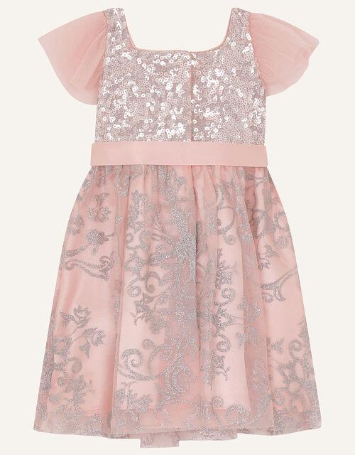 Baby Sequin Foil Print Dress, Pink (DUSKY PINK), large