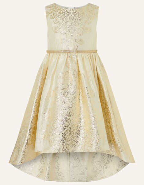 Jacquard High-Low Dress Gold, Gold (GOLD), large