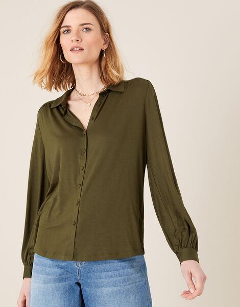 Penny Long Sleeve Shirt with LENZING™ ECOVERO™ Green, Green (KHAKI), large