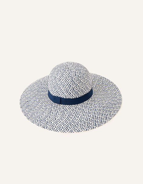 Pattern Floppy Straw Hat , , large