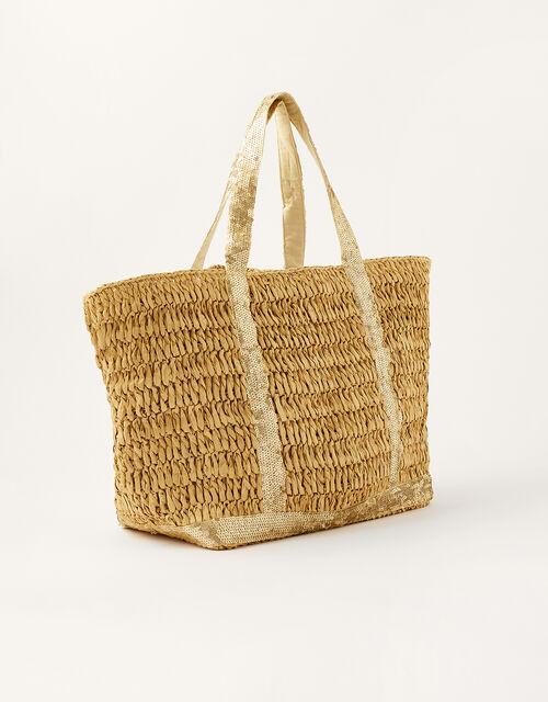 Sable Sequin Shopper Bag, Natural (NATURAL), large