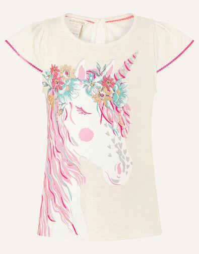 Unicorn Floral T-Shirt Camel, Camel (OATMEAL), large