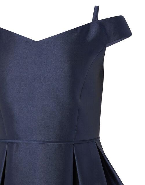 Duchess Twill Bardot Prom Dress, Blue (NAVY), large