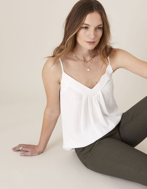 Pleated Trim Cami with Sustainable Viscose, Ivory (IVORY), large