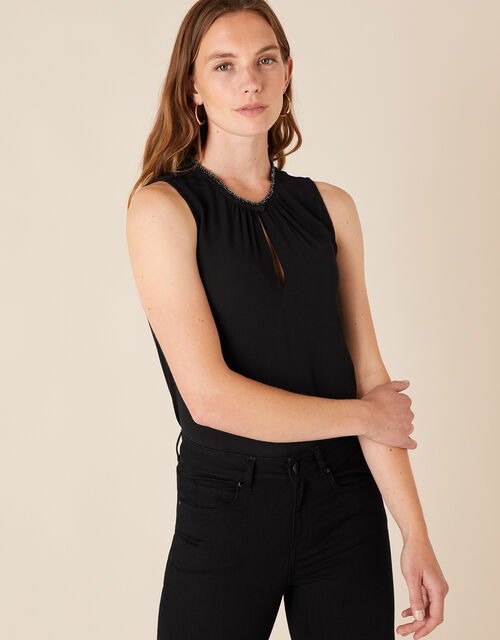 Embellished Neck Tank Top with LENZING™ ECOVERO™, Black (BLACK), large