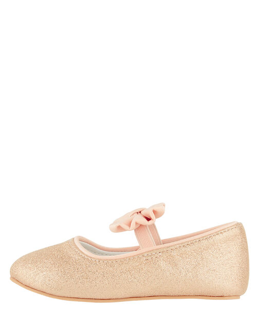 Baby Samira Gold Bow Walker Shoes, Gold (GOLD), large
