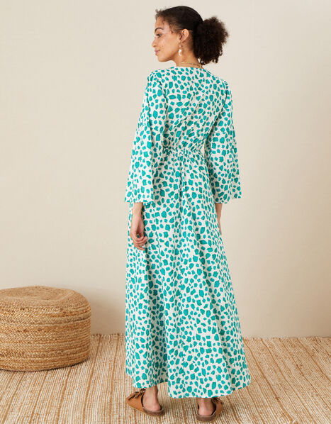 Animal Print Dress in Pure Cotton Green, Green (GREEN), large
