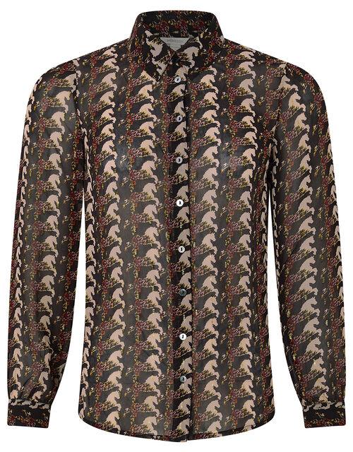 Holly Horse Print Shirt, Black, large