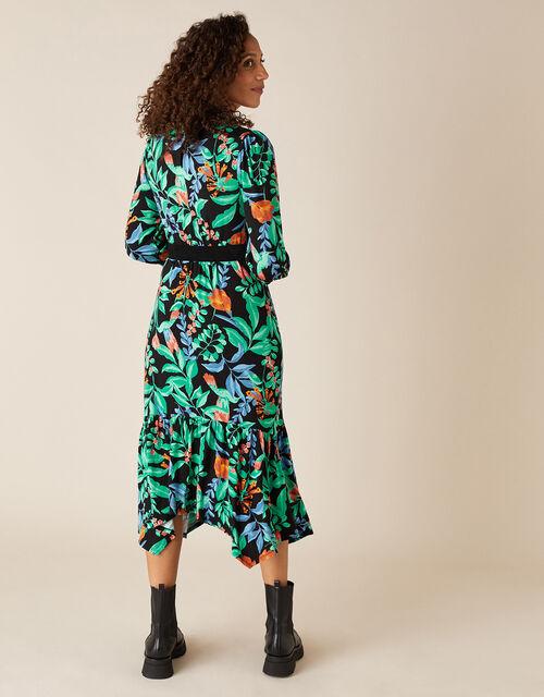 Leaf Print Hanky Hem Dress with LENZING™ ECOVERO™, Green (GREEN), large