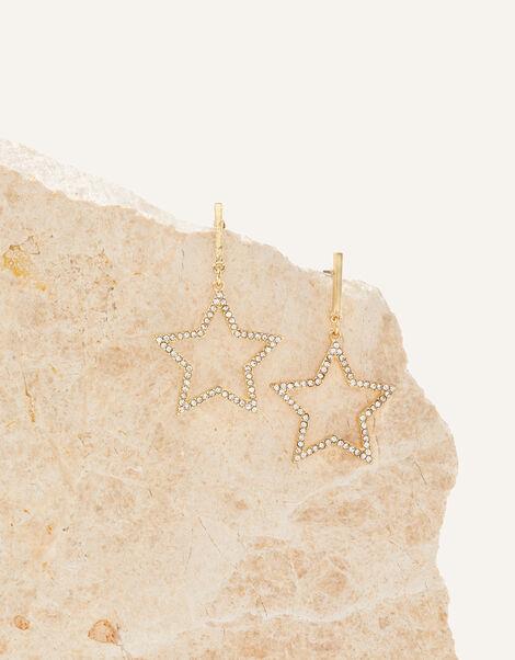 Star Diamante Hoop Earrings, , large