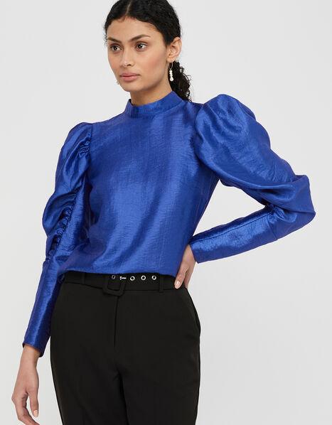 Tabby Taffeta 80s Sleeve Blouse Blue, Blue (COBALT), large