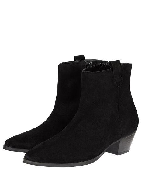 Western Suede Ankle Boots Black, Black (BLACK), large