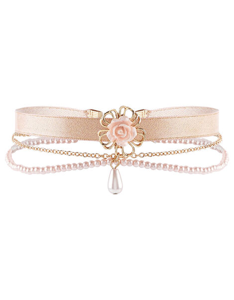 Wire Flower Ribbon Choker , , large