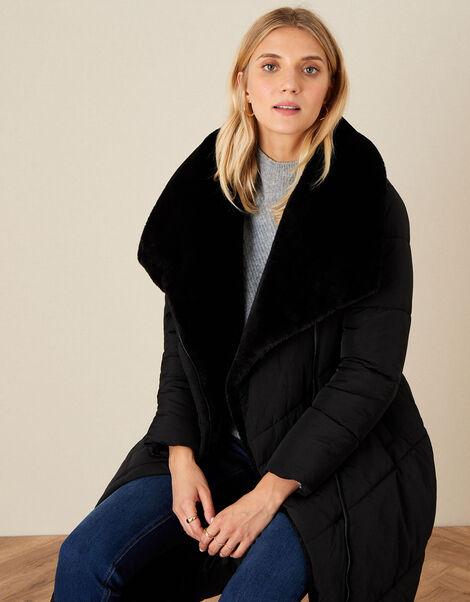 Beverley Faux Fur Collar Coat Black, Black (BLACK), large